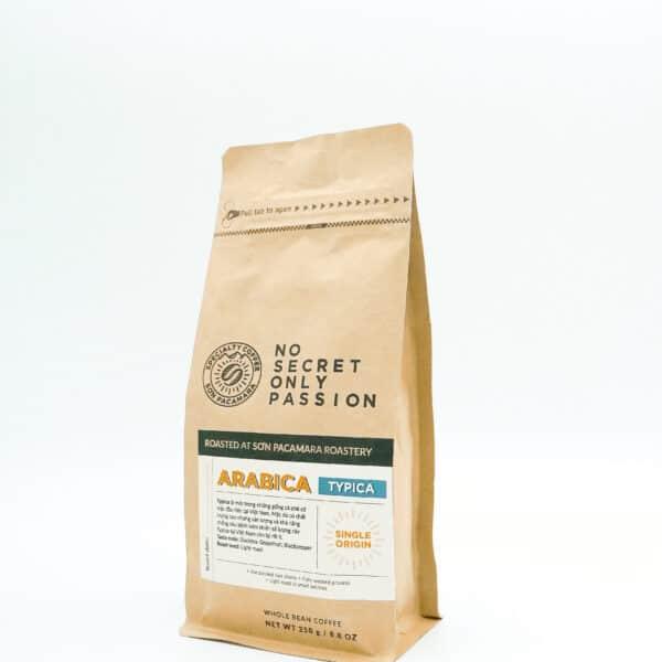 gói cà phê typica 250gr nghiêng