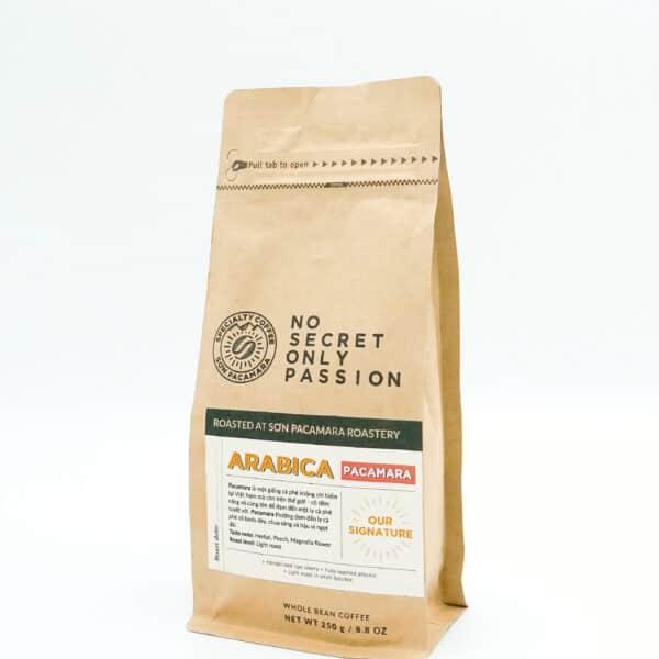 gói cà phê pacamara 250gr nghiêng