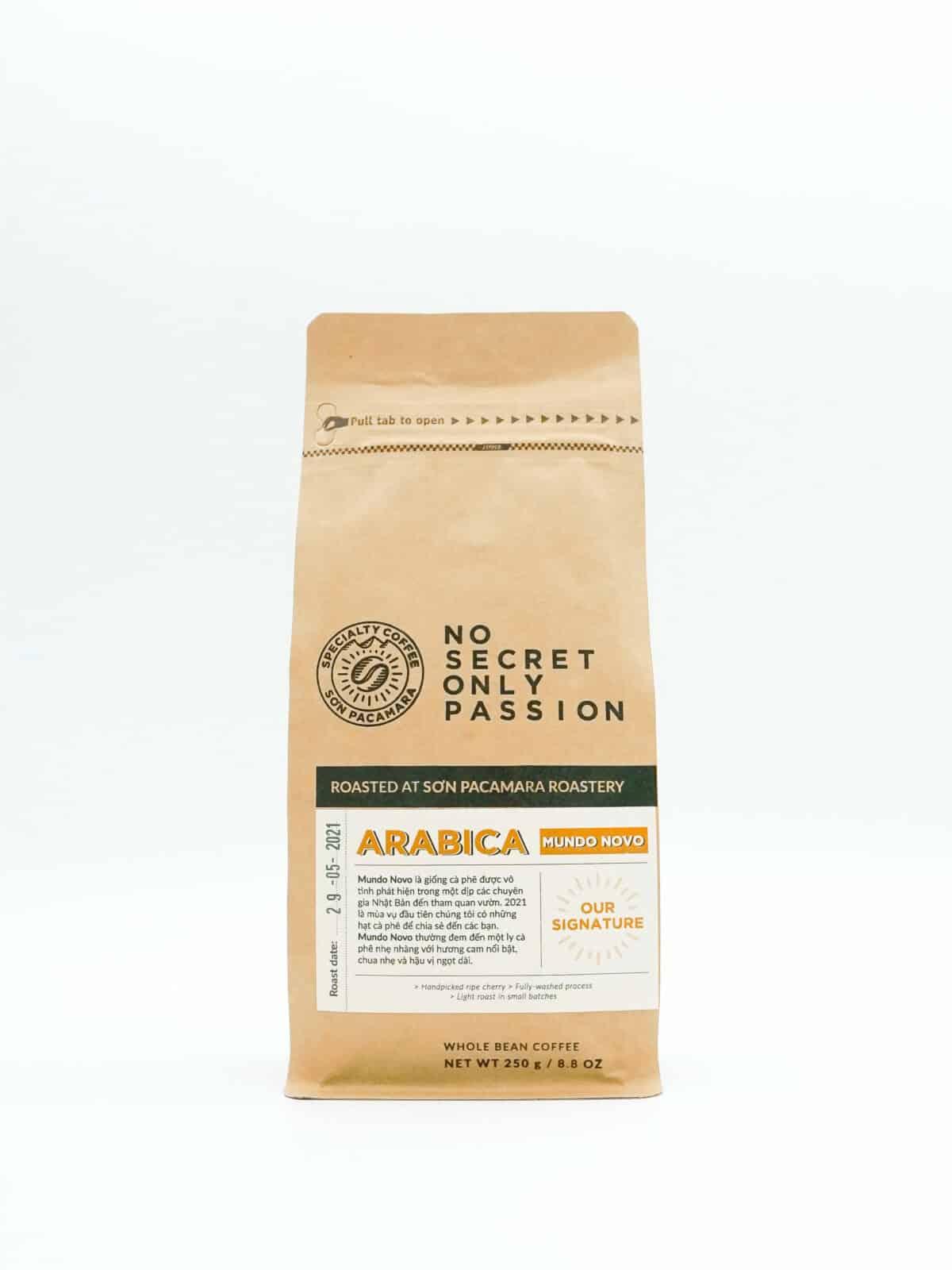 gói cà phê mundo novo 250gr